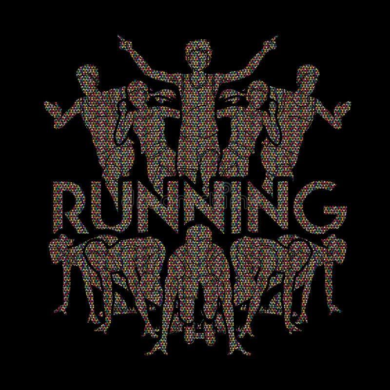 人奔跑,赛跑者,马拉松赛跑,队工作赛跑, 库存例证