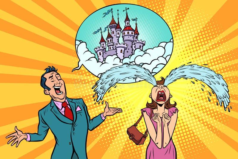 人妇女讲童话城堡故事  免版税库存图片