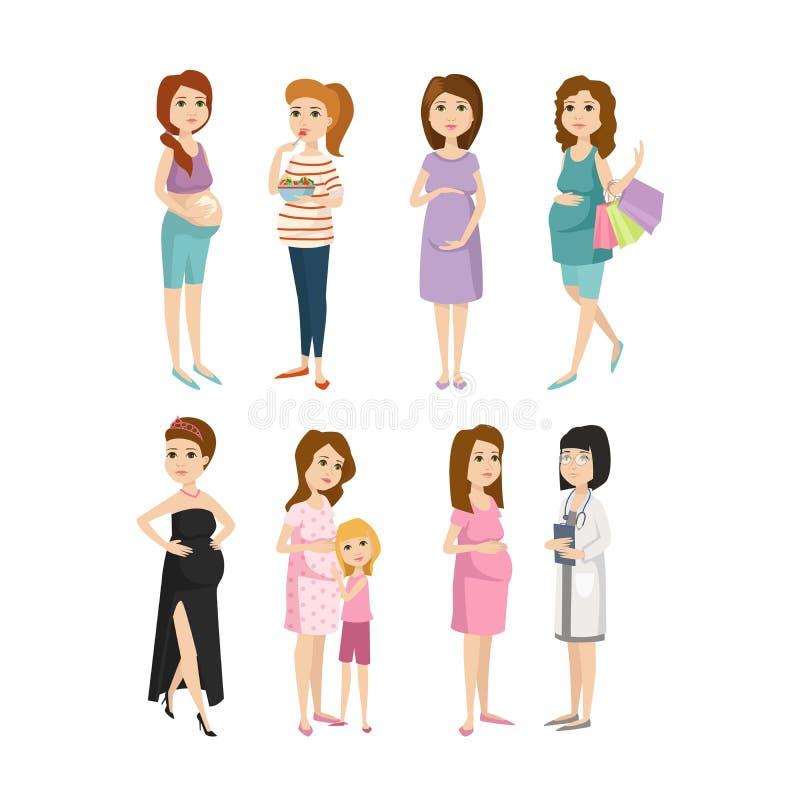 年轻人孕妇字符传染媒介 库存例证