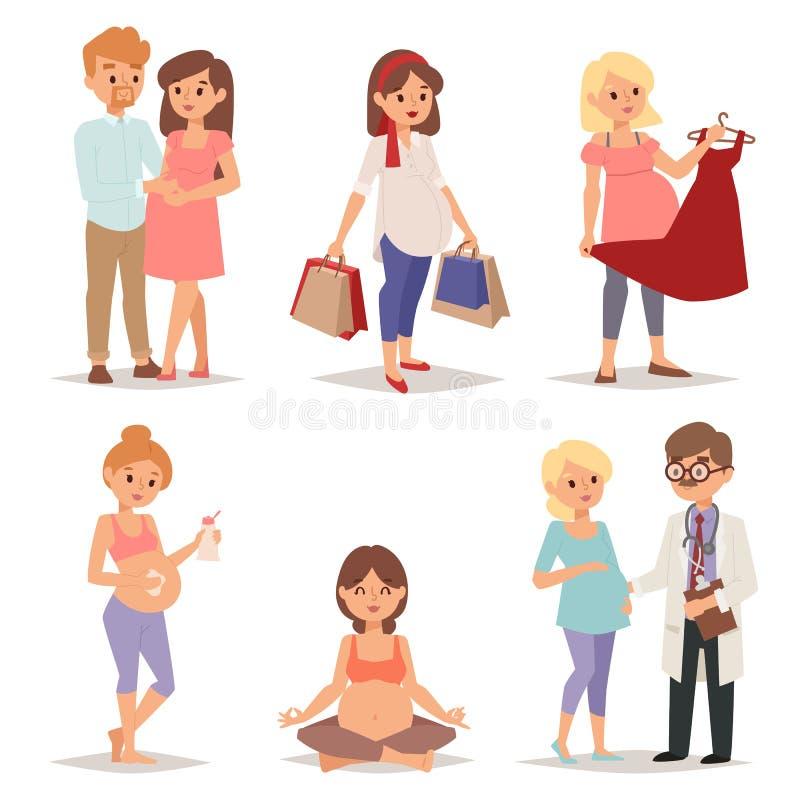 年轻人孕妇,怀孕女性腹部期待美好的未来母亲字符传染媒介集合 向量例证