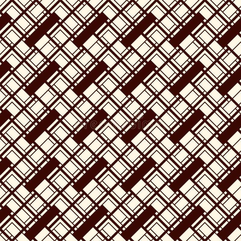 人字形墙纸 抽象木条地板背景 与长方形瓦片的无缝的样式 现代几何装饰品 库存例证