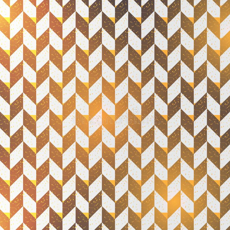 人字形抽象背景 黑色与V形臂章对角线的表面样式与金黄光 经典几何 库存例证