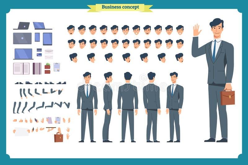 人字符企业集合 前面,边,后面看法给字符赋予生命 商人字符创作集合 简单,剪影,面孔 皇族释放例证