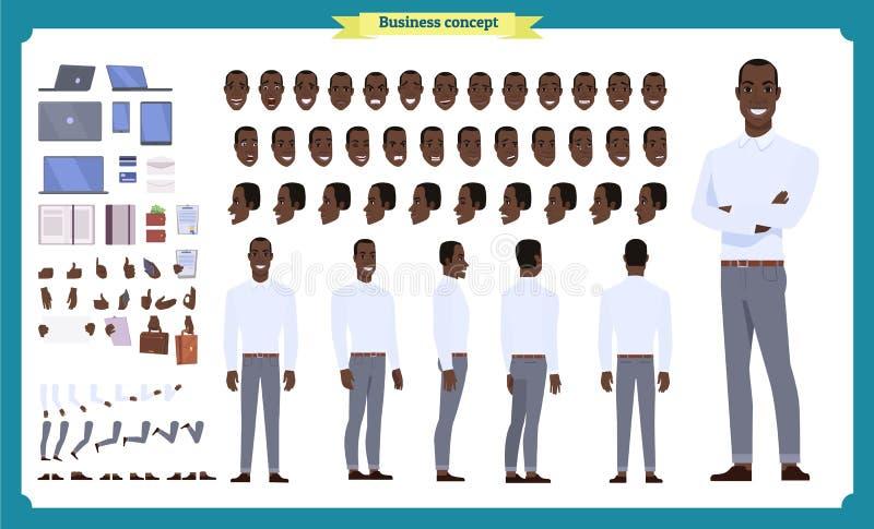 人字符企业集合 前面,边,后面看法给字符赋予生命 黑美国商人字符创作集合 皇族释放例证