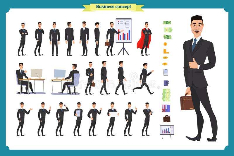 人字符企业集合 在礼服的年轻商人 皇族释放例证