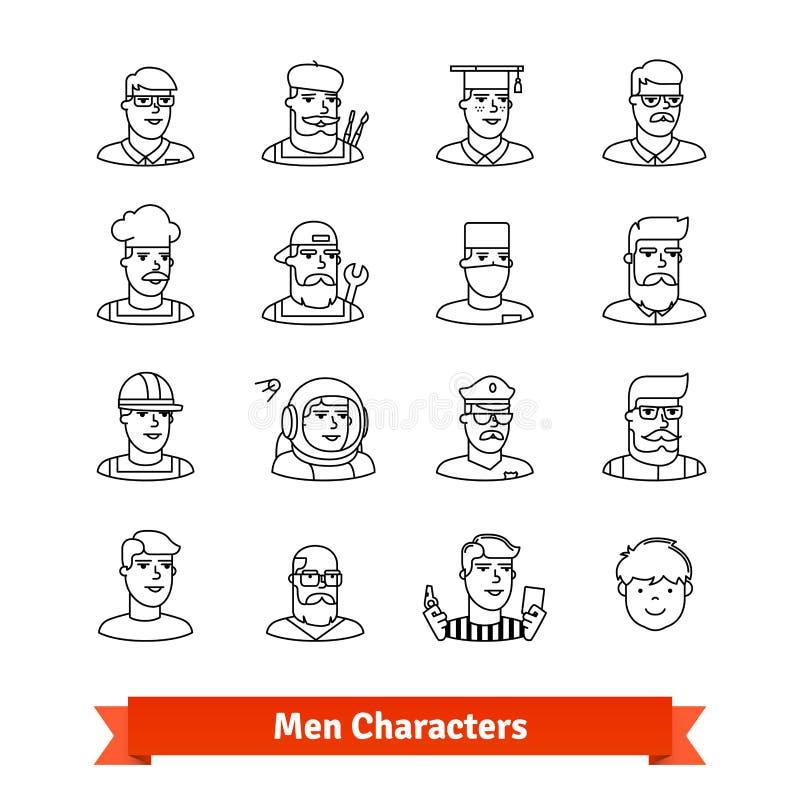 人字符具体化 稀薄的被设置的线艺术象 库存例证