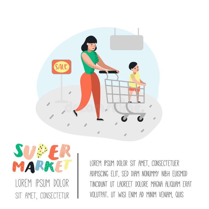 人字符母亲和儿子购物在有推车海报的超级市场 买产品的平的动画片顾客 皇族释放例证