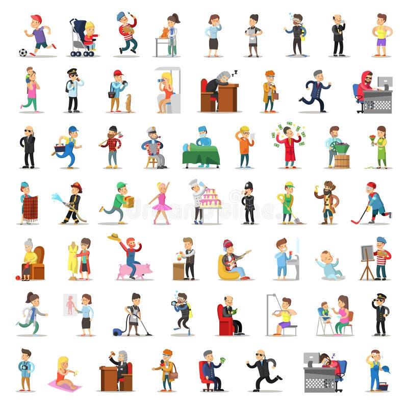 人字符汇集 动画片集合不同的行业以各种各样的姿势 商人,消防员,农夫医生, 库存例证