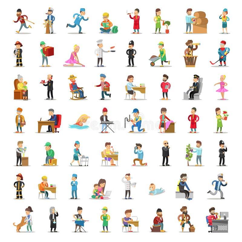 人字符汇集 动画片集合不同的行业以各种各样的姿势 警察,商人, Fireman医生 向量例证