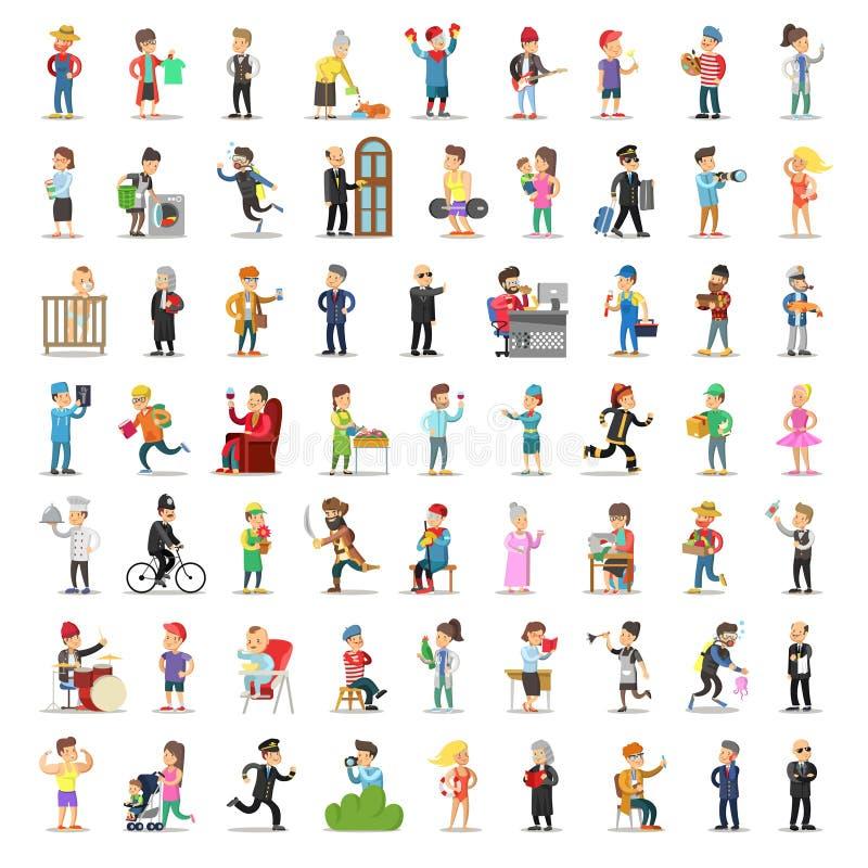 人字符汇集 动画片集合不同的行业以各种各样的姿势 运动员,商人, Fireman医生 皇族释放例证
