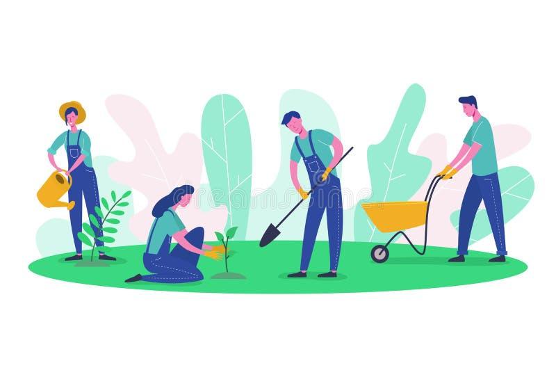人字符花匠和农夫工作在庭院里 妇女收获树,女性种植的绿色,人开掘 皇族释放例证