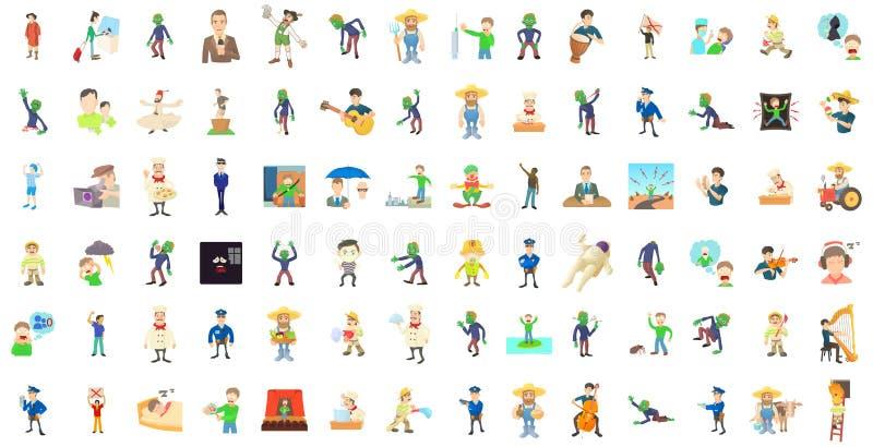 人字符象集合,动画片样式 向量例证