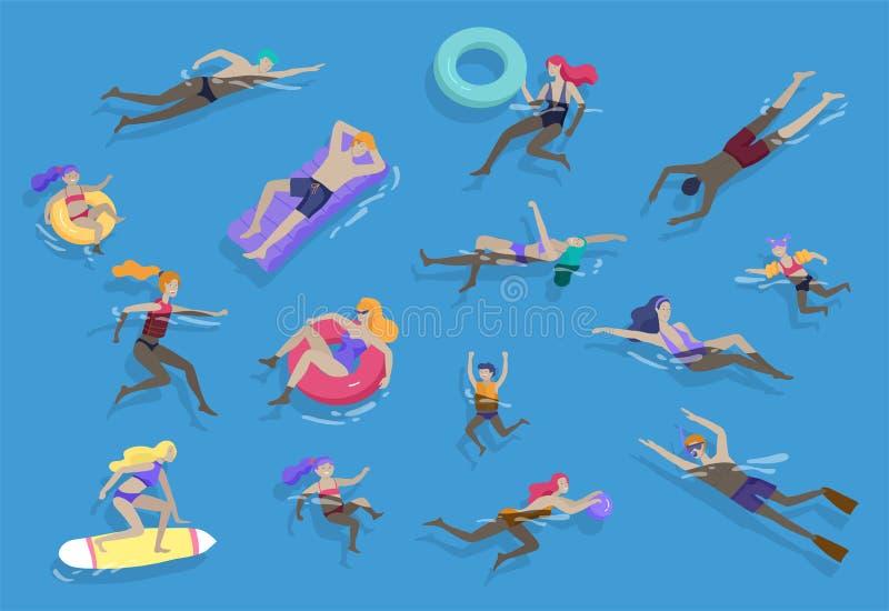 人家庭和孩子在执行活动的海、水池或者海洋 游泳在游泳衣,潜水的男人或妇女 向量例证