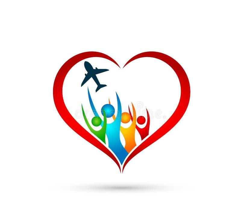 人家庭在心形象赢得的幸福健康一起队成功健康健康标志的飞机商标 皇族释放例证