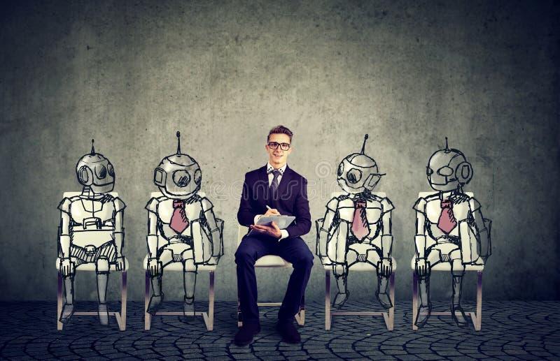 人对机器人技术概念 库存照片