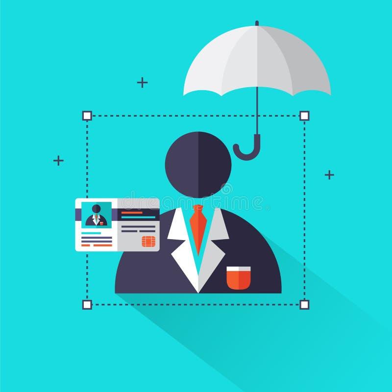 """人寿保险概念†""""生活和医疗保健信息在平的样式象的图表元素例如伞,保险卡片 向量例证"""