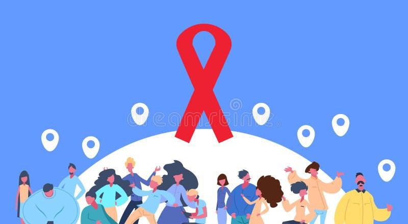 人小组慈善捐赠帮助艾滋病HIV在蓝色背景平的水平的画象的预防geotag 库存例证