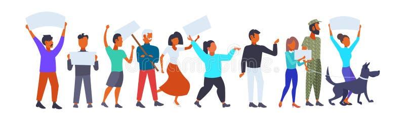 人小组藏品张贴妇女在罢工政治集会概念动画片加冠一起站立的空的委员会人 库存例证