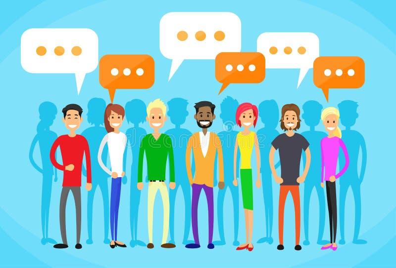 人小组闲谈社会网络通信 向量例证