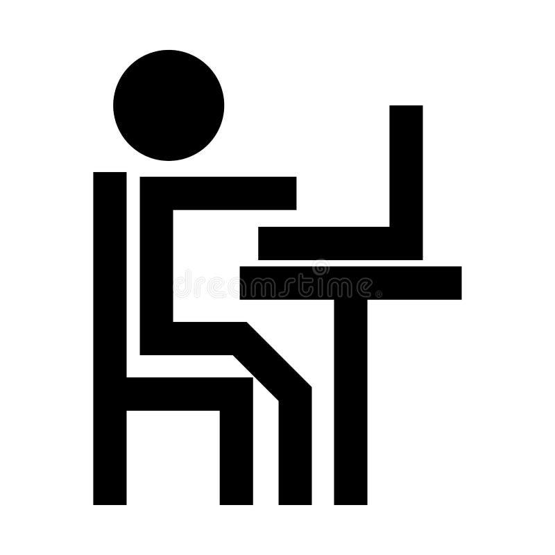 人工作在膝上型计算机黑色象 库存例证