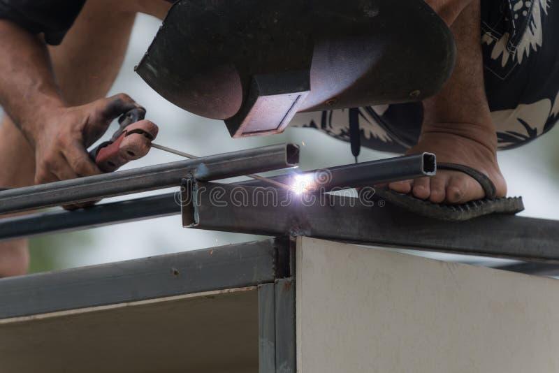 人工作者焊接钢 库存照片