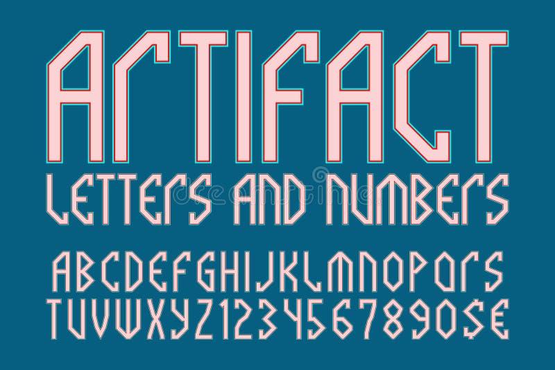 人工制品信件和数字与货币符号 神话样式字体 向量例证