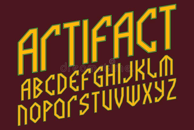 人工制品字母表 古老样式字体 r 向量例证