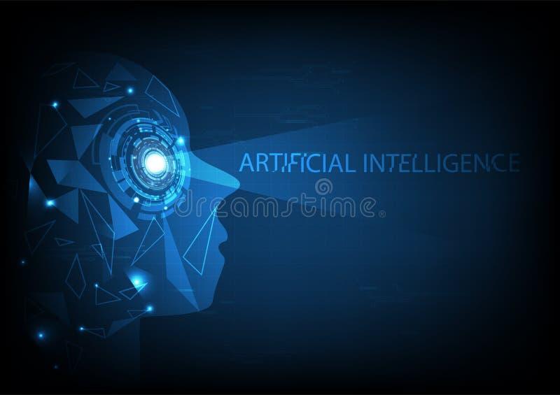 人工智能、三角的栅格和浓缩电路的网络 皇族释放例证