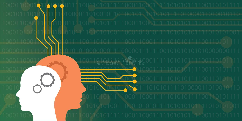 人工智能与顶头人的机器人的概念例证有神经的委员会系统的 库存例证