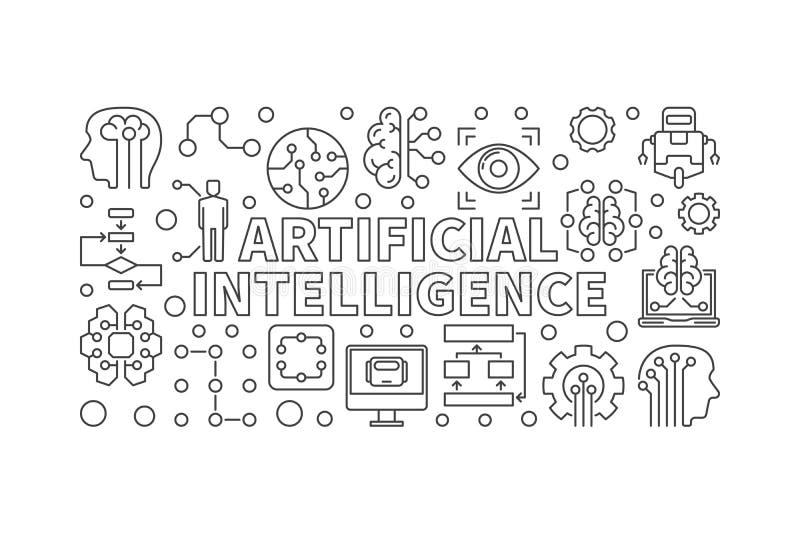 人工智能传染媒介现代水平的横幅 向量例证