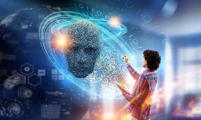 人工智能和未来技术 混合画法 免版税库存照片