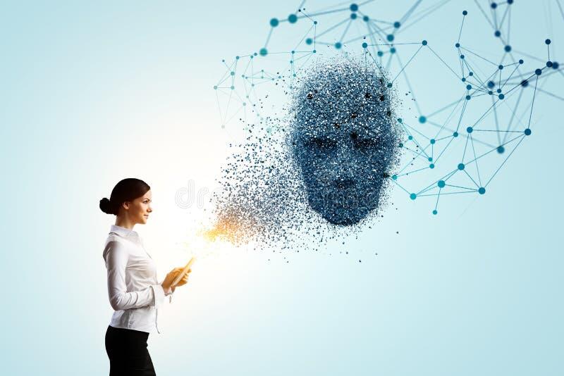 人工智能和未来技术 混合画法 库存照片