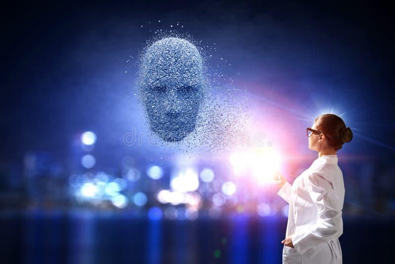 人工智能和未来技术 混合画法 免版税库存图片