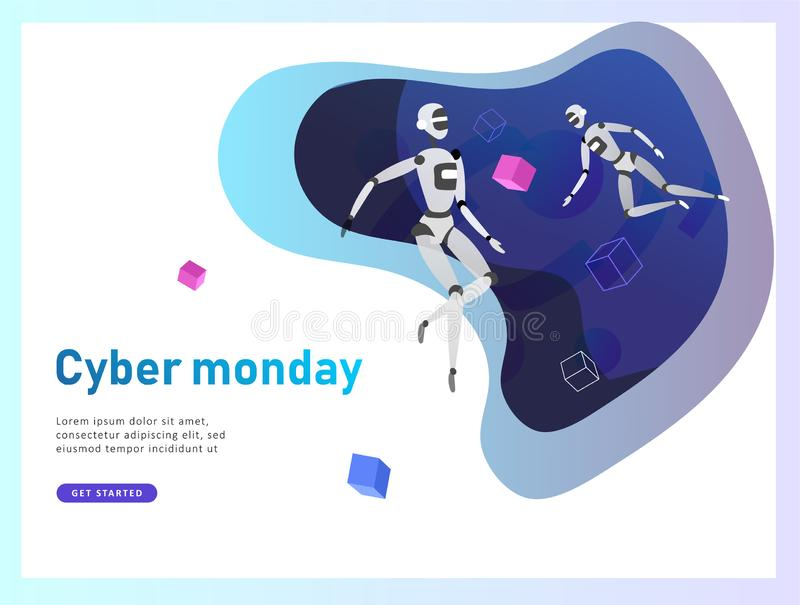 人工智能和网络的概念星期一,未来派计算机国际庞克设计,靠机械装置维持生命的人研究超现实主义的项目 库存例证