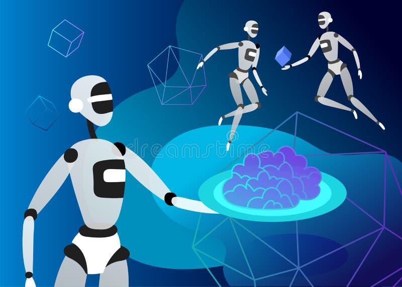 人工智能和网络的概念星期一,未来派计算机国际庞克设计,靠机械装置维持生命的人研究超现实主义的项目 皇族释放例证