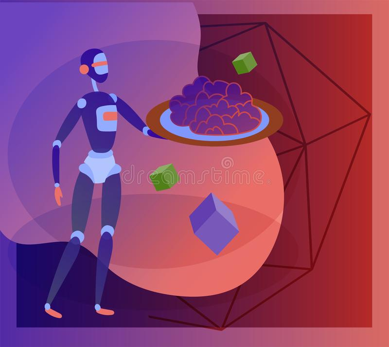人工智能和网络的概念星期一,未来派计算机国际庞克设计,靠机械装置维持生命的人研究超现实主义的项目 向量例证