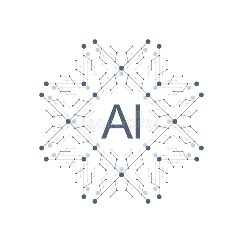 人工智能商标象传染媒介标志AI 学会和深深未来技术构思设计 向量例证
