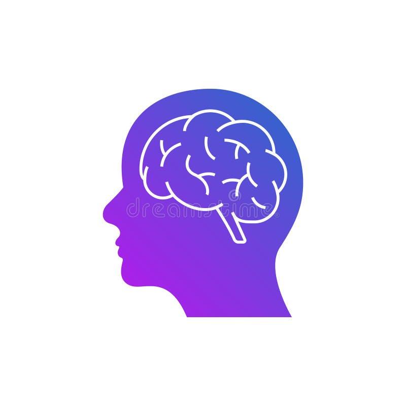人工智能商标象数字面孔 人为软件人头脑子技术 向量例证