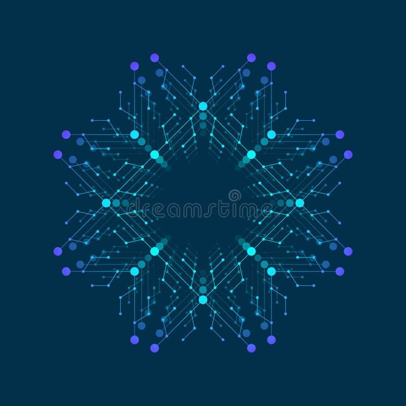 人工智能商标,象 传染媒介标志AI 学会和深深未来技术构思设计 皇族释放例证