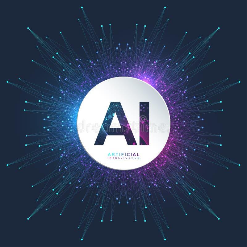 人工智能商标 人工智能和机器学习概念 传染媒介标志AI 神经网络 向量例证