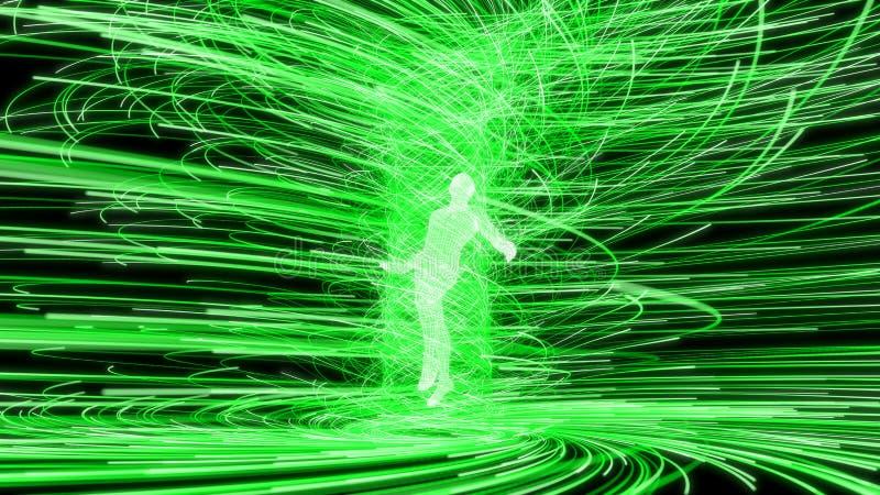 人工智能形象在绿色能量漩涡的中心 3d例证 向量例证