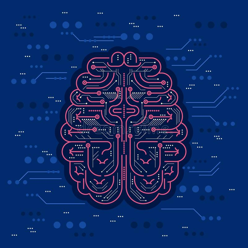 人工智能或AI传染媒介例证 数字式与保险丝的机器人作为未来派真正人的脑子和芯片介意 向量例证