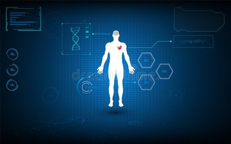 人工智能扫描身体人的技术概念 库存例证