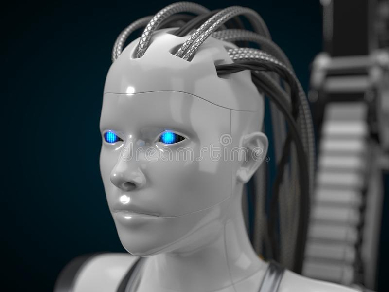 人工智能插孔,白色droid版本 3d例证 向量例证