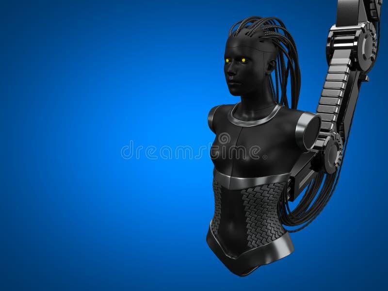 人工智能插孔,黑暗的droid版本 3d例证 皇族释放例证