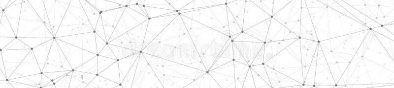 人工智能数字变革、被连接的线和小点几何摘要传染媒介宽横幅背景 库存例证