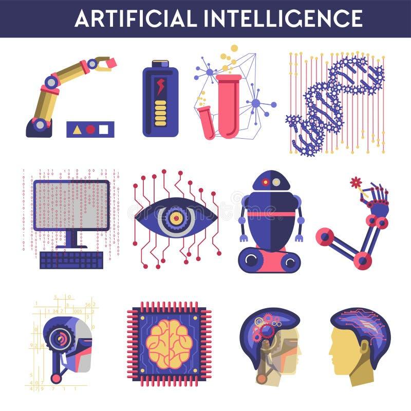人工智能机器人人脑的传染媒介例证 向量例证