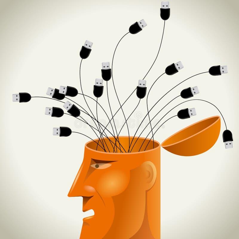 人工智能构思设计,在脑子的USB缆绳 皇族释放例证