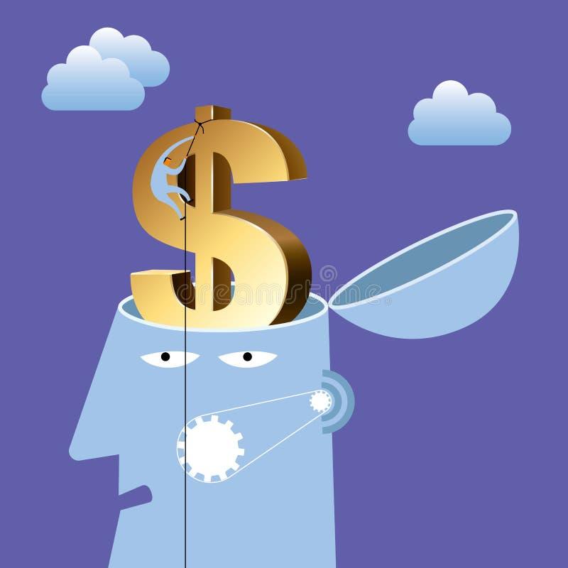 人工智能构思设计,美元的符号脑子 库存例证