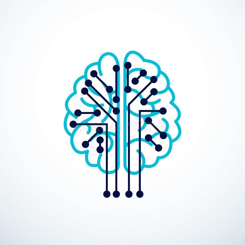 人工智能概念传染媒介商标设计,数字式头脑 库存例证